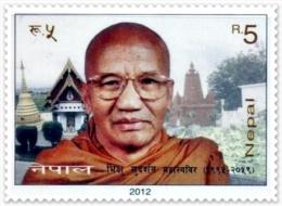 BUDDHIST MONK SUDARSHAN MAHASTHABIR RUPEE 5 STAMP NEPAL 2012 MINT MNH - Buddhism