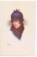 MILIOTTI - ART DECO POSTCARD 1920s - WOMAN & HAT - N. 969-6 - Illustrateurs & Photographes