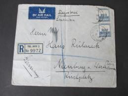 Palästina/ Palestine 1938 Registered Letter To Germany With Six Cancels / 6 Stempel. Tel Aviv 5 No 9972 To Nienburg - Palästina
