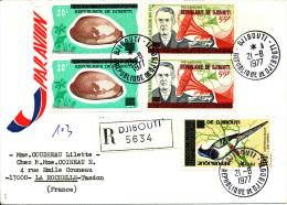 Djibouti 1977  ( Lettre Recommandée Avec 5 Valeurs  Surchargées Thème Coquillages - Oiseau -  Edison )  Peu Commun - Conchiglie