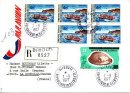 Djibouti 1977  ( Lettre Recommandée Avec 5 Valeurs  Surchargées Thème Coquillage + Timres Afars )  Peu Commun - Barche