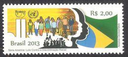 BRAZIL 2013 - ANTI RACISM - FIGHT AGAINST RACIAL DISCRIMINATION UPAEP ONU UN FLAG MNH 1V - Brazil