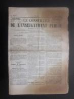 Rare >> 15 Mars 1855 Première Année Journal Le Conseiller De L'enseignement Public Paraissant Une Fois Par Mois - Newspapers