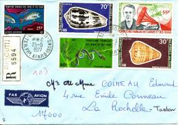 """Afars 1977  (Lettre Recommandée - 5 Valeurs """"Poisson - Coquillages - Serpent - T.Edison"""" ) - Conchiglie"""
