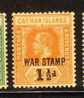 Cayman Islands 1919 War Tax Stamps Surcharged Mint - Cayman Islands