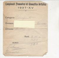 PO5493C# Campionati Piemontesi Ginnastica Artistica 1937 - ATTREZZO : ANELLI Con Punteggio - Documento Gara - Ginnastica