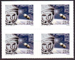 Italy 2011 50th Ann. Of First Flight Of Yuri Gagarin Space Block Of 4v MNH - Space
