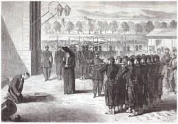 Gravure 1863 Expédition Du Mexique  Butron  Chef Des Pillards Executé Peine De Mort  Citadelle De MEXICO - Vecchi Documenti