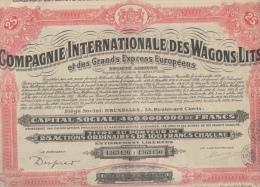 Action Ordinaire De 100 Francs Compagnie Internationale Des Wagons Lits Des Grands Express Européens Bruxelles Belgique - Railway & Tramway