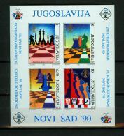 Yugoslavia Jugoslawien 1990,4V Block,schach,chess,schaken,scacchi,,MNH,E4082de - Schaken