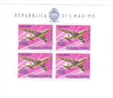 1964 Francobollo Aereo Foglietto BF36 Cod.FRA.499 - San Marino