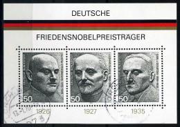 BRD - Michel Block 11 = 871 / 873 - OO Gestempelt (C) - Friedensnobelpreisträger - [7] West-Duitsland