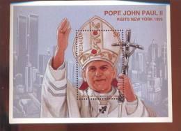 MINT NEVER HINGED SOUVENIR SHEET OF POPE JOHN PAUL II   # +131-3  ( GRENADA  2510 - Christendom