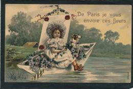"""PARIS - Jolie Carte Fantaisie Gaufrée Fillette Et Chien Sur Bateau """"De Paris, Je Vous Envoie Ces Fleurs"""" (embossed PC) - Non Classificati"""