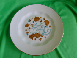 Vintage USSR Latvia Porcelain Riga Factory RPR Salad Plate Floral P. Gold Trim - Ceramics & Pottery
