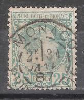 MONACO, 1885, Yvert N° 6, Prince Charles III, 25 C Vert  Obl SUPERBE Cachet Central!!!!!!!!!!!, TB!!!!!!!!!!! - Monaco