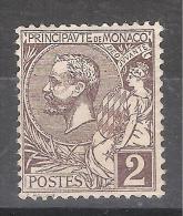 MONACO, 1891, Yvert N° 12, Prince Albert 1 Er, 2 C Violet Brun , Neuf *, TB - Monaco