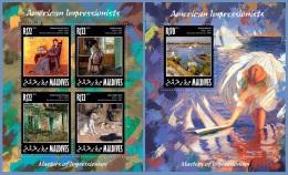 mld14208ab Maldives 2014 Painting Impressionists American 2 s/s