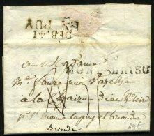 HAUTE LOIRE: Pli De MONTBRISON De 1814 En Port Du Avec Marque Linéaire  88 MONTBRISON + DEB.41 LE PUY > BRIOUDE - Postmark Collection (Covers)