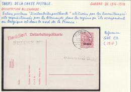 528/22 --  Entier Zivilarbeiterpostkarte Feldpost 1917 , Avec Cachets BRUGGE 269 Et Revidiert - German Occupation