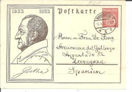 Wga338/ Goethe Ganzsache, 15 Pfg. (1932) Auslandstarif - Deutschland