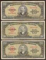CUBA. 3 x 20 pesos 1958