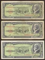 CUBA. 3 x 5 pesos 1960. Sign. Che Guevara.