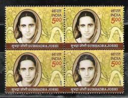 INDIA, 2011, Subhadra Joshi, Freedom Fighter, Block Of 4,  MNH, (**) - India