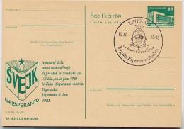 DDR P 84 C55 Postkarte Zudruck ESPERANTO BUCH SCHWEJK Leipzig Sost. 1983 - Esperanto