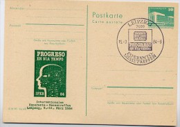DDR P84-4a-84 C61-a Postkarte Zudruck ESPERANTO -TREFFEN  LEIPZIG Sost. 1984 - Esperanto