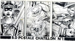 """ILLUSTRATEUR    /  L 28   """"  CHATILLON  1983 """"  POCHETTE N° 1   PUZZLE  9 CARTES  CPM / CPSM  10 X 15   TBE - Künstlerkarten"""