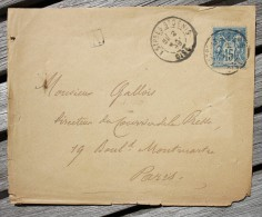 Enveloppe Pour Paris Affranchie Type Sage Oblitération Estrées St Denis Type A Oise 58 - Postmark Collection (Covers)