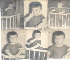 6 FOTOS DE NIÑO EN UNA CUNA BUENOS AIRES L'ARGENTINA 1950 - Anonyme Personen