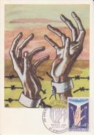 Main ** 25ème Anniversaire : LIBERATION Des CAMPS De DEPORTATION ** Yvt N°1648 - Carte Maximum FRANCE 1970 - Maximum Cards