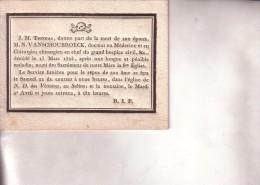 BRUXELLES BRUSSEL VANSCHOUBROECK Médecin Chirurgien Hospices Civils SABLON Mort En 1823 Avis Mortuaire Doodbericht - Obituary Notices