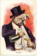 ART DECO ERKAL KUNSTLER SERIE POSTCARD - DRESSED DOG DRINKING CHAMPAGNE N.313-1 - Ohne Zuordnung