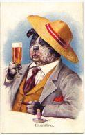 ART DECO ERKAL KUNSTLER SERIE POSTCARD - DRESSED DOG DRINKING BEER N.313-3 - Ohne Zuordnung