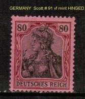 GERMANY   Scott  # 91*  VF MINT HINGED - Neufs