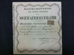 SOUSCRIPTION Actions NOUVELLES  Sté  GENERALE D´ALGERIE 1882 - Shareholdings