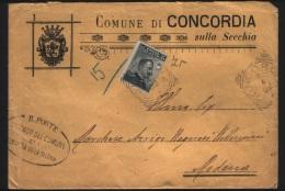 1909  LETTERA CON ANNULLO CONCORDIA SULLA SECCHIA  MODENA - 1900-44 Vittorio Emanuele III