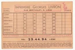 Imprimerie Georges Livron Liége Rue Bertholet  1950 - Papeterie
