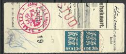 Estland Estonia Estonie 1935 Cut Out Cancel KOHTLA-JÄRVE + JÕHVI KONTROLL + TARTU - Estonia