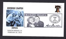UNITED STATES 2014. SPECIAL POSTMARK. FRANK SINATRA AND BARBARA SINATRA. CINEMA FILMS MOVIES