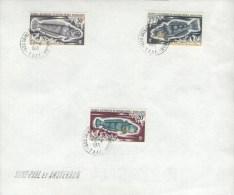 1971 FSAT TAAF French Antarctica - Iles Saint Paul Et Amsterdam ,fish, Poisson, Mi 62/64, Yv.36/38, Stamp Over Document - Terres Australes Et Antarctiques Françaises (TAAF)