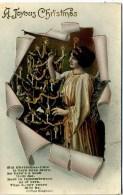 2 POSTCARDS - SAME SET - MOTHER AS ANGEL WITH CHRISTMAS TREE - Christmas