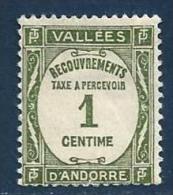 """Andorre Taxe YT 16 """" Ecouvrements 1c. Olive """" 1935 Neuf *"""