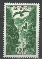 """Andorre Aerien YT 2 """" Paysage 100f. Vert """" 1955-57 Neuf * - Poste Aérienne"""