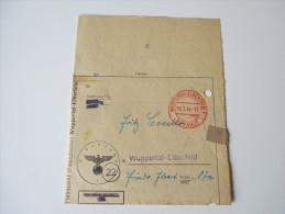 Mahnzettel Finanzamt Wuppertal-Elberfeld 19.3.1946. Aufbrauch Von Alten Dokumenten Des DR. Stempel/Hakenkreuz Geschwärzt - Historische Dokumente
