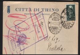 1942   CARTOLINA CON ANNULLO TRINO VERCELLI - Storia Postale