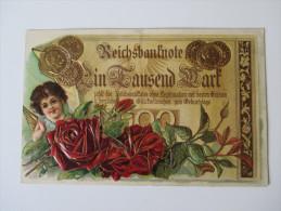 Reliefkarte / Münzkarte Germania / Reichsbanknote Ein Tausend Mark. Geburtstagskarte. Echt Gelaufen!! Bahnpoststempel - Münzen (Abb.)